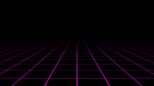 A retro futuristic neon grid receding into the distance